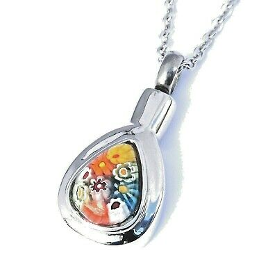 """Cremation Ashes Jewellery Keepsake Necklace Urn """"Rainbow Droplet"""""""