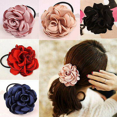 Women Girls Hair Band Rope Elastic Flower Ponytail Holder Scrunchie Accessories.