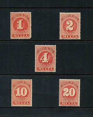 CHILE _ 1898 'POSTAGE DUE' SET of 5 _ mh ____(492)