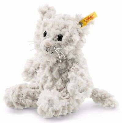 Steiff Cosy Whiskers Cat Light Grey Soft Cuddly Plush Toy Animal 18cm 099274 New