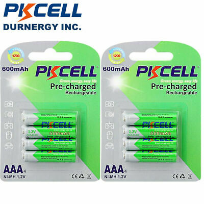 8Pcs 1.2V AAA Ni-MH Rechargeable Batteries 600mAh For Toys Solar Light PKCELL