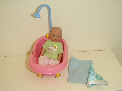 mini baby born doll and bath and mat and hat