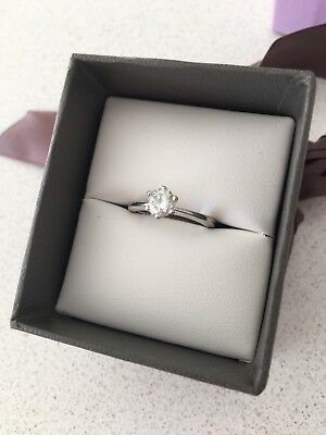 0.5ct Diamond Solitaire Engagement Ring. 18k White Gold.