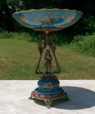 Wong Lee Blue Art Deco Porcelain & Bronze Young Maiden Pedestal Plate