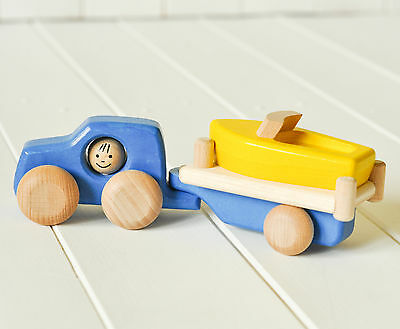 Set Of Wooden Toys - Jeep With Boat On Trailer