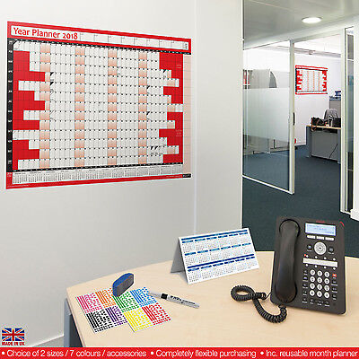2018 Year Planner Calendar Wall Chart Annual✔LAMINATED✔RED✔Stickers✔Dry Wipe Pen