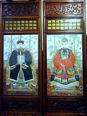 """Antique CHINESE EMPEROR and EMPRESS hand painting 5',3"""""""