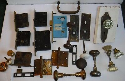 Antique Vtg Mixed Lot of Door Knobs Hardware Hinges Glass Metal Brass Salvage