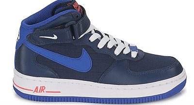 Nike Air Force 1 Mid GS Shoes Blue White Red Leather 314195-412 $85 Youth