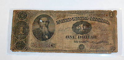 1890 Large STANTON $1 One Dollar Bill Currency BROWN SEAL Treasury STAR  Note