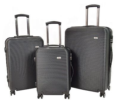 Wholesale Job Lot New Hard Shell ABS Suitcase 4 Wheel Luggage Set Of 3Pcs Black