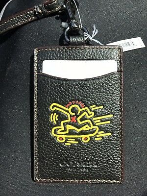NWT COACH X KEITH HARING Black Lanyard Badge Skateboard Design ID Holder Case