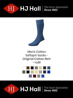 Mens HJ Hall Softop® HJ91 The Original Cotton Rich Non-Elastic Socks UK 4-15