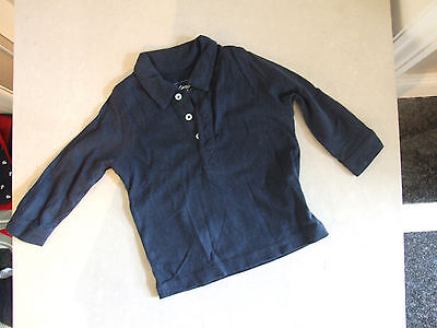 Grain De Ble Beautiful French Baby Boy 12 Months Navy Blue Collared Polo Shirt
