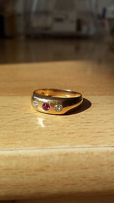 alter  GOLDRING 585 Gold 14 Karat Diamanten Diamant Rubin Gr. 19  60