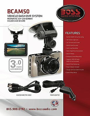 "Boss Audio BCAM50 Car DVR Dash Cam System 3"" LCD Screen w/8GB SD"