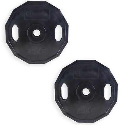 Polygonal Weight Plates 2 x 25kg Protective Coating Lifting Exercise Gym Workout