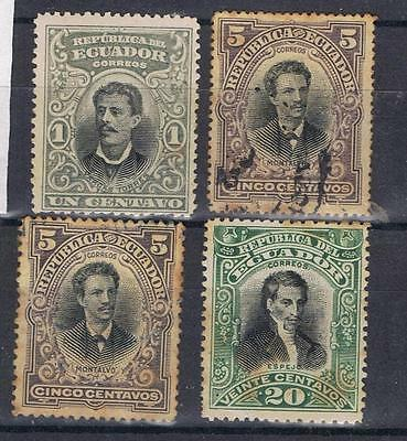 Ecuador 1899 Portraits selection to 20c  SG 193, 197, 207 Used/Mint MH
