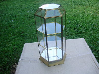 "VTG Brass & Glass Small 6 Sided Curio Cabinet Jewelry/Tabletop Display 12"" Tall"
