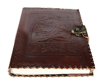 Handmade Large A4 Genuine Leather Journal Parch Paper Embossed with Tree of Life