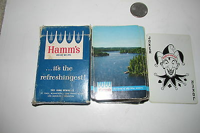 HAMM'S beer 1950's LAKE SCENE Deck of Playing cards Complete w/jokers & box