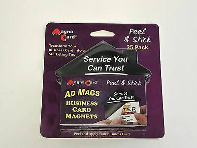 Magna Card Peel and Stick Business Card Magnets, 25 Pack