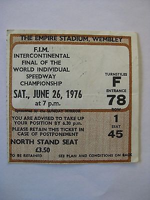 Final Of The World Individual Speedway Championship 1976 Wembley Ticket