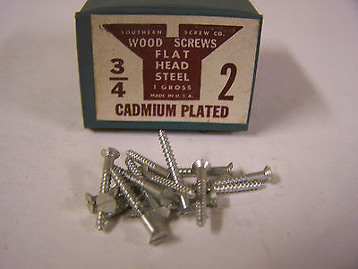 "#2 x 3/4"" Flat Head Wood Screws Slotted Cadmium Plated Made in USA Qty 144"