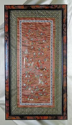 """Beautiful Estate Vintage """"101 Chinese Children"""" Embroidery Art on Copper Fabric"""