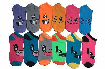 New Lot 12 Pairs Womens Ankle Socks Multi Color Fashion Size 9-11 Emotion Face