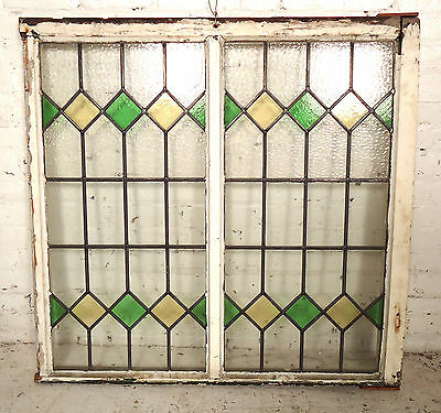 Large Antique Vintage Stained Glass Window (08077)NS