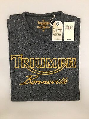 NWT Lucky Brand Mens Gray Triumph Bonneville T-Shirt 100% Cotton Sz L