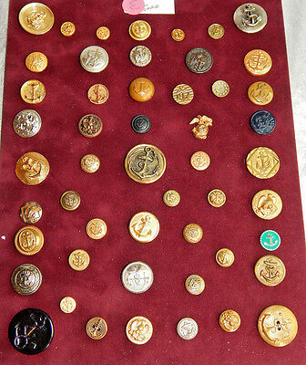 Lot of 50 Vintage Brass & Other  Buttons Anchors & Navy #E