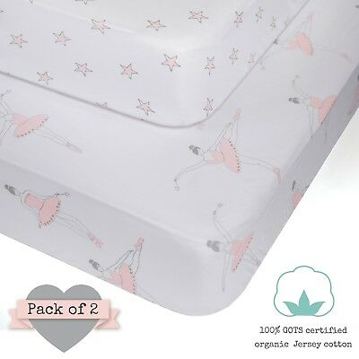 100% ORGANIC Jersey Cotton Fitted Crib Sheets Pink for Girl - 2 pack - GOTS cert