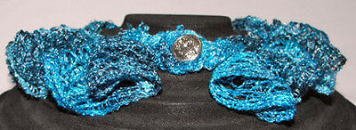 """Handcrafted by Jan, Crocheted Neckline Accessory, 16"""", Blues w/Silver Button"""