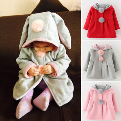 Baby-Kind-Kaninchen-Ohr-Mantel-Winter-Kleidung Warme Jacke Pony Hoodies