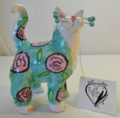 Whimsiclay Cat Figure Amy Lacombe Green with Pink Purple Flower Theme Design Tag