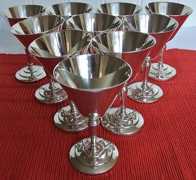 Set of 10 Mappin & Webb Silver Plate Wine Goblets