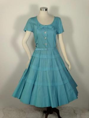 Vintage 1950s Turquoise Blue Full Skirt Dress Tiered L XL 42 Bust
