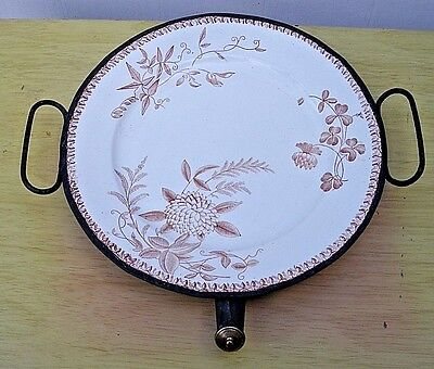 Antique Victorian Metal And Porcelain Hot Water Warming Plate