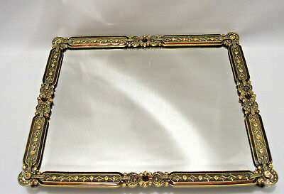 Antique Looking Brown And Gold Jeweled Vanity / Dresser Beveled Mirror Tray