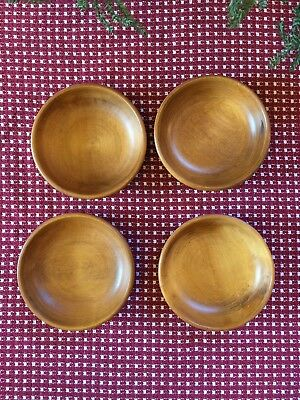 4 Honey Maple Turned Wooden Salad Bowls Made In Vermont GMS Hand Rubbed Wood Set