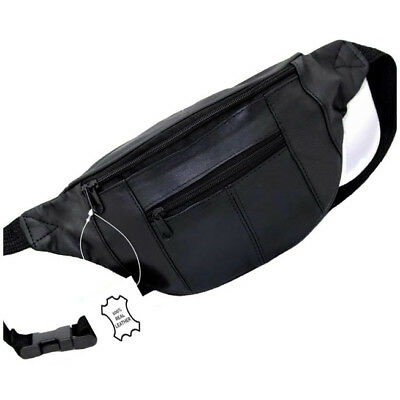 Real Leather Bum Bag Travel Cash Waist Belt Festival Wallet Fanny Pouch Black