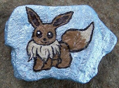 Painted Rock Eevee Pokemon for hiding or collecting handpainted original