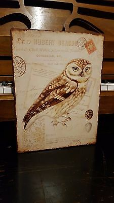 Set of 2 Vintage Metal Wall Hangings with Owl Imprints - Very Rare and Unique!