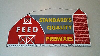 1950s Standard's Quality Feed Metal Sign Omaha Nebraska Agriculture Advertising
