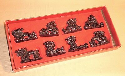 Vintage Chinese DRAGON Figure Set of 8 Traditional Imperial Throne Symbol 274r