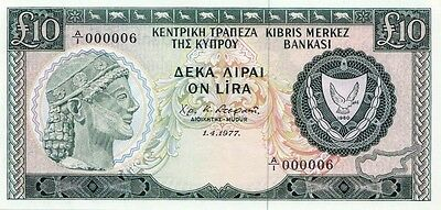 Cyprus 1977 10 Pounds Gem Unc In Low Serial No. 6 **amazing** Extremely Rare!!!