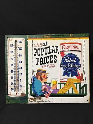 Vg.1950's Pabst Blue Ribbon Beer Thermometer Sign( Sitting On Porch Swing)