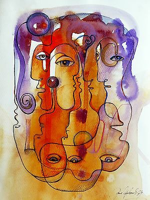linear faces portrait drawing and watercolour original painting fabulous art eye